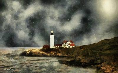 New England Lighthouse Painting - October Night, Portland Head by RC deWinter