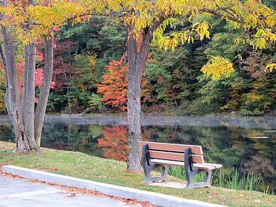 Photograph - October Park Bench by MTBobbins Photography