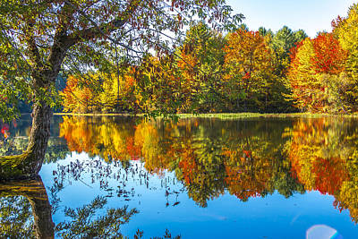 Maine Landscape Photograph - October Reflection by Laurie Breton