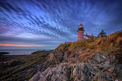 Quoddy Photograph - October Sky At West Quoddy Head Light by Rick Berk