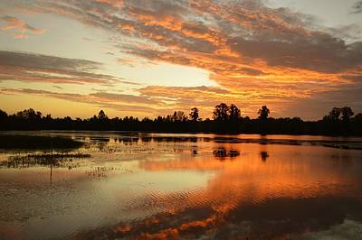 Photograph - October Sunrise - Alligator Lake by rd Erickson