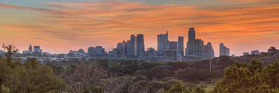 Soap Suds - October Sunrise over Austin Skyline Pano 3 by Rob Greebon