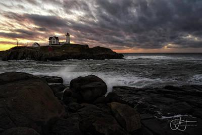Photograph - October Sunrise Over Nubble Light by John Hoey