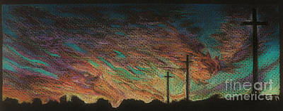 Oklahoma Drawing - October Sunset by Jeff  Blevins