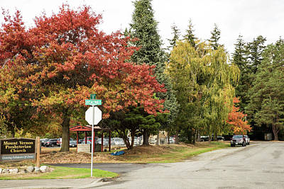 Photograph - October Tree Colors On A Church Corner by Tom Cochran