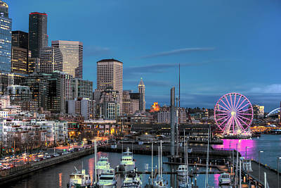October Twilight Seattle Waterfront Art Print