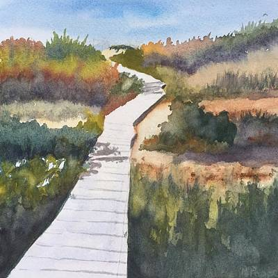Painting - October Walk To Beach by Peggy Poppe