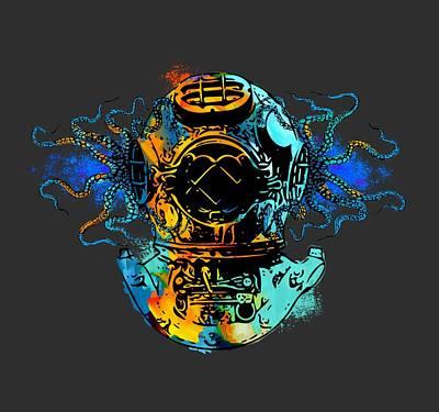 Diving Helmet Digital Art - Octodive by David Loblaw