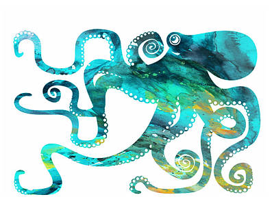 Poster Painting - Octopus 2 by Donny Art