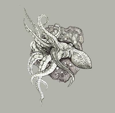 Drawing - Octopus by Adria Trail