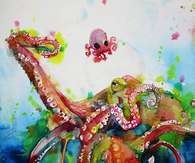 Painting - Octopus And Baby Octopus by Fabrizio Cassetta