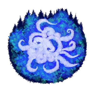 Digital Art - Octopus And Trees by Adria Trail