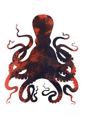 Octopus Mixed Media - Octopus Fine Art Print by Joanna Szmerdt