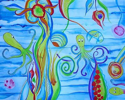 Art Print featuring the painting Octopus' Garden by Erika Swartzkopf