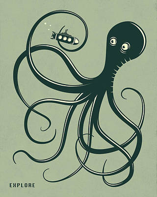 Pop Surrealism Digital Art - Octopus by Jazzberry Blue