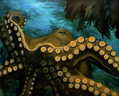Suckers Painting - Octopus by Leizel Grant