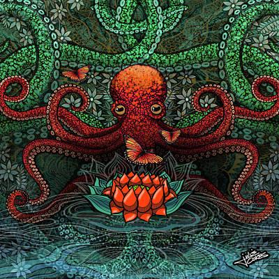 Drawing - Octopus Lotus by Julie Oakes