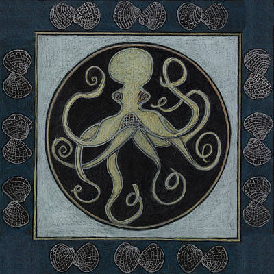 Visionary Art Drawing - Octopus Spirit Animal Mandala  by Kim Alderman
