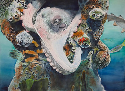 Watercolor Painting - Octopus Rex by Christopher Reid