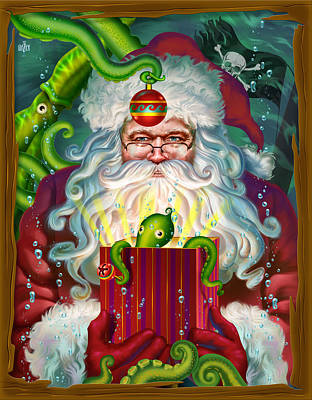 Digital Art Rights Managed Images - Octopus Santa Claus Christmas Card Royalty-Free Image by Garth Glazier