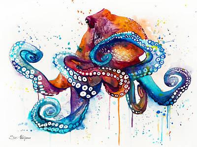 Octopus Mixed Media - Octopus by Slavi Aladjova