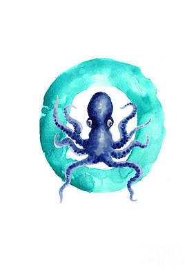 Painting - Octopus Watercolor Alphabet Art Print by Joanna Szmerdt