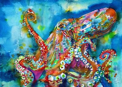 Painting - Octopus - Watercolor Portrait.1 by Fabrizio Cassetta