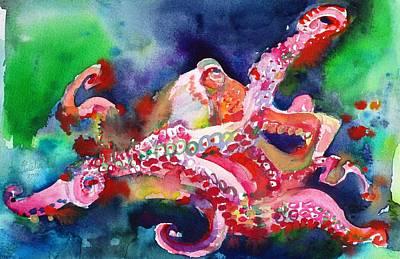 Painting - Octopus - Watercolor Portrait.2 by Fabrizio Cassetta