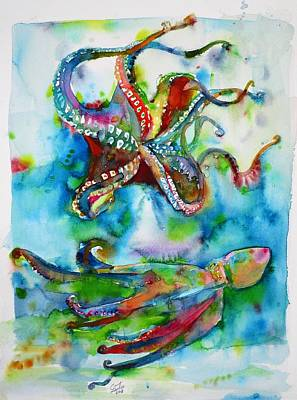Painting - Octopuses In The Abyss by Fabrizio Cassetta