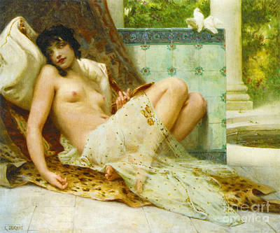 Odalisque Photograph - Odalisque Aux Colombes 1900 by Padre Art