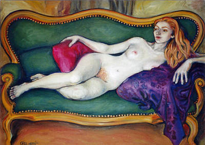 Alabaster Painting - Odalisque by Cecile Poletti