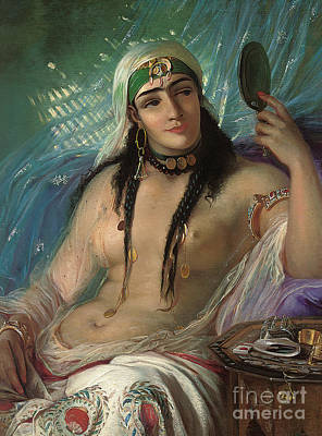 African Erotic Painting - Odalisque by Elisabeth Maria Anna Jerichau Baumann