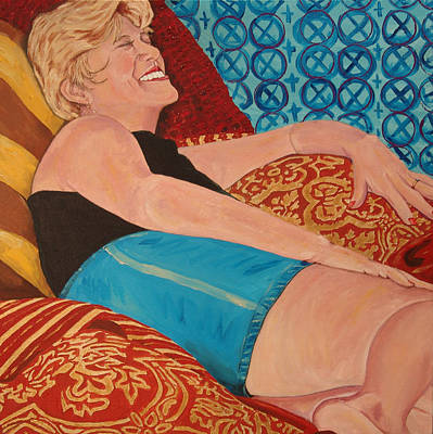 Odalisque In Blue Shorts Art Print