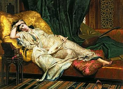 Bedside Painting - Odalisque With A Lute by Hippolyte Berteaux