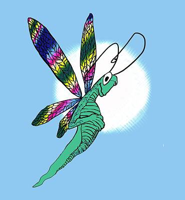 Digital Art - Odd Dragonfly by Adria Trail