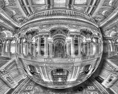 Library Painting - Ode To Mc Escher Library Of Congress Orb Horrizontal by Tony Rubino