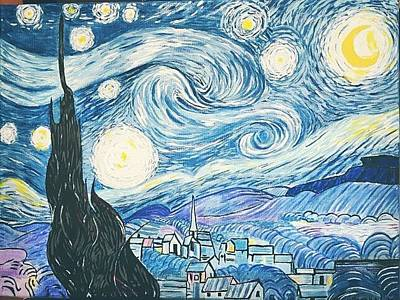 Inspired By Van Gogh Wall Art - Painting - Ode To Starry Night by Reeny Wells