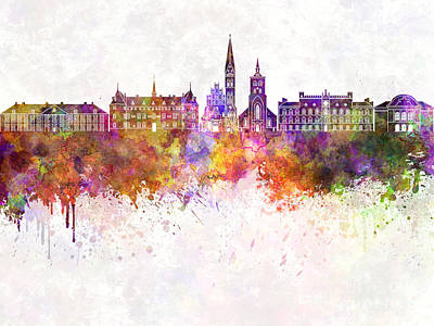 Odense Skyline In Watercolor Background Art Print by Pablo Romero
