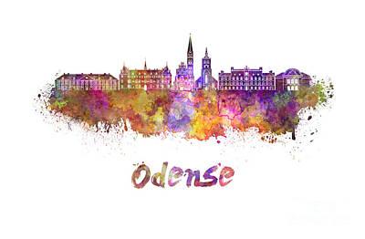 Odense Skyline In Watercolor Art Print by Pablo Romero