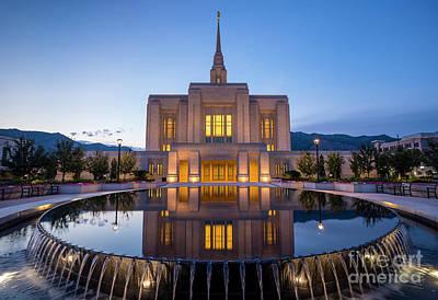 Odgen Lds Temple Sunrise Reflection 2 - Utah Art Print by Gary Whitton