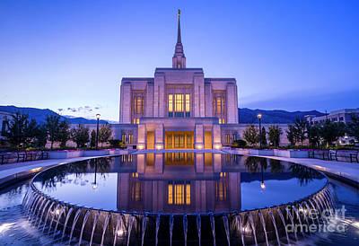 Odgen Lds Temple Sunrise Reflection - Utah Art Print by Gary Whitton
