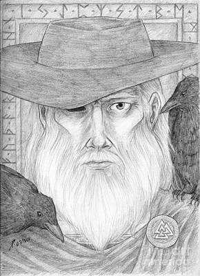 Thor Drawing Drawing - Odin by Brandy Woods
