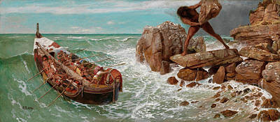Cyclops Wall Art - Painting - Odysseus And Polyphemus by Arnold Bocklin