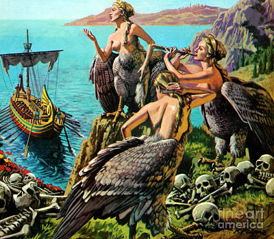 Odysseus And The Sirens Art Print by English School