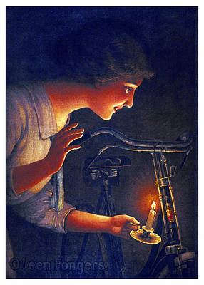 Mixed Media - O'een Fongers - Bicycle - Vintage Advertising Poster by Studio Grafiikka