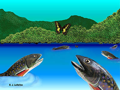 Of Brook Trout And Butterflies Art Print