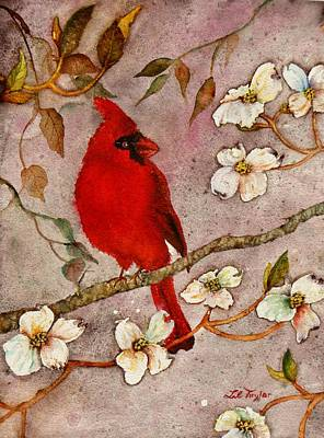 Painting - Of Cardinals And Dogwoods by Lil Taylor