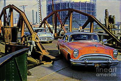 Digital Art - Of Days Gone By, Cars Crossing A Bridge by Wernher Krutein