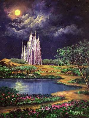 Mystical Landscape Painting - Of Glass Castles And Moonlight by Randy Burns