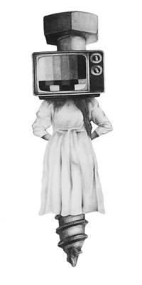 Old Tv Drawing - Off Air by Phil Spaulding